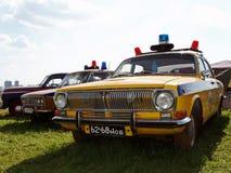 MOSKWA ROSJA, Lipiec, - 15, 2008: Samochodu policyjnego Volga ` Autoexotic powystawowy 2008 ` Obrazy Royalty Free