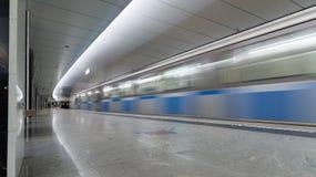 Moskwa Rosja, Lipiec, - 09 2015 Wnętrze stacja metru Pyatnickoe Shosse Zdjęcie Royalty Free