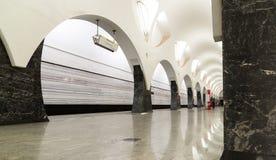 Moskwa Rosja, Lipiec, - 09 2015 Wnętrze stacja metru Volokolamskaya Obrazy Royalty Free