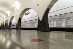 Moskwa Rosja, Lipiec, - 09 2015 Wnętrze stacja metru Volokolamskaya Fotografia Royalty Free