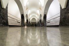 Moskwa Rosja, Lipiec, - 09 2015 Wnętrze stacja metru Volokolamskaya Zdjęcie Royalty Free