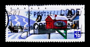 MOSKWA ROSJA, LISTOPAD, - 24, 2017: Znaczek drukujący w Kanada sh Obrazy Stock