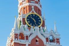Moskwa Rosja, Luty, - 01, 2018: Kuranta zegar Spasskaya wierza Moskwa Kremlin zbliżenie kremlin zima Moscow Obraz Royalty Free