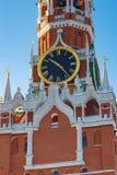 Moskwa Rosja, Luty, - 01, 2018: Kuranta zegar Spasskaya wierza Moskwa Kremlin zbliżenie kremlin zima Moscow Fotografia Stock