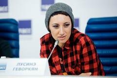 MOSKWA ROSJA, LUTY, - 28, 2017: LOUNA zespołu konferencja prasowa przy TASS wiadomości Rosyjską agencją na Luty 28, 2017 w Moskwa Zdjęcie Royalty Free