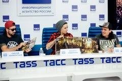 MOSKWA ROSJA, LUTY, - 28, 2017: LOUNA zespołu konferencja prasowa przy TASS wiadomości Rosyjską agencją na Luty 28, 2017 w Moskwa Fotografia Stock