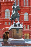 Moskwa Rosja, Luty, - 01, 2018: Marszałka Zhukov pomnikowy pobliski plac czerwony w Moskwa moscow zima Zdjęcie Royalty Free