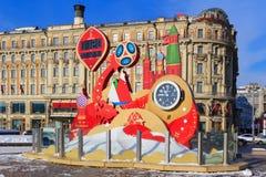 Moskwa Rosja, Luty, - 14, 2018: Odliczanie zegar przed zaczynać mistrzostwa FIFA puchar świata Rosja 2018 na Manezhnaya Obrazy Royalty Free