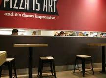 Moskwa Rosja, Luty, - 08, 2017: wnętrze KFC restauracja Pizza Hut kawiarnia w centrum miasta i Obrazy Stock