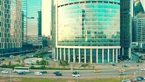 MOSKWA ROSJA, MAJ, -, 22, 2017 Antena strzelał Międzynarodowy centrum biznesu biuro i mieszkaniowi drapacze chmur Zdjęcia Stock