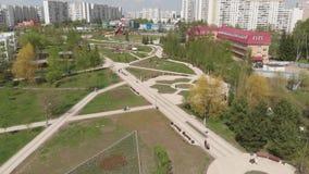 Moskwa Rosja, Maj, - 7 2019 Bulwar w 16 Zelenograd po odbudowy okr?gu zbiory