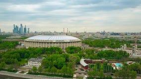 MOSKWA ROSJA, MAJ, -, 24, 2017 Dużej wysokości anteny strzał odnawiący dla FIFA pucharu świata Luzhniki futbolu 2018 areny Zdjęcie Royalty Free