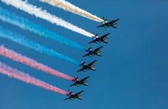 Moskwa Rosja, Maj, - 9, 2015: Grupa samolotu powietrzny dym Obraz Royalty Free