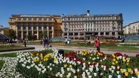 Moskwa Rosja, Maj, - 12 2018 Manezhnaya kwadrat z Zholtov domowym i hotelowym obywatelem zdjęcie wideo