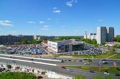 Moskwa Rosja, Maj, - 13 2016 Odgórny widok na wiadukcie Kryukovskaya w Zelenograd Fotografia Stock