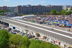 Moskwa Rosja, Maj, - 13 2016 Odgórny widok na wiadukcie Kryukovskaya w Zelenograd Obrazy Stock