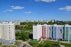 Moskwa Rosja, Maj, - 13 2016 Odgórny widok okręg 20 w Zelenograd lecie Obrazy Stock