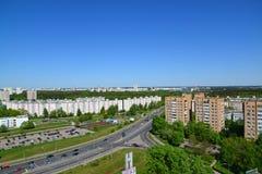 Moskwa Rosja, Maj, - 13 2016 Odgórny widok Solnechnaya aleja w Zelenograd Obrazy Stock