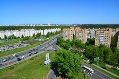Moskwa Rosja, Maj, - 13 2016 Odgórny widok Solnechnaya aleja w Zelenograd Zdjęcie Royalty Free
