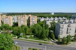 Moskwa Rosja, Maj, - 13 2016 Odgórny widok Solnechnaya aleja w Zelenograd Obraz Royalty Free