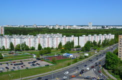 Moskwa Rosja, Maj, - 13 2016 Odgórny widok Solnechnaya aleja w Zelenograd Obrazy Royalty Free