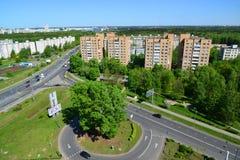 Moskwa Rosja, Maj, - 13 2016 Odgórny widok Solnechnaya aleja w Zelenograd Fotografia Stock