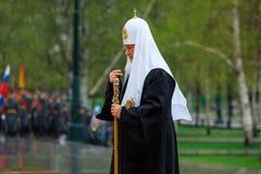 MOSKWA ROSJA, MAJ, - 08, 2017: Patriarcha WYSOCY duchowieństwa rosyjski kościół prawosławny kłaść i fotografia stock