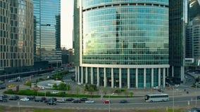 MOSKWA ROSJA, MAJ, -, 22, 2017 Powietrzny wydźwignięcie strzelał Międzynarodowy centrum biznesu biuro i mieszkaniowi drapacze chm Zdjęcia Royalty Free