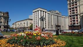 Moskwa Rosja, Maj, - 12 2018 Stan duma od kierunku Manezhnaya Obciosuje zdjęcie wideo