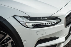 MOSKWA ROSJA, MAJ, - 3, 2017 VOLVO V90 PRZECINAJĄCY kraj, strona widok Test nowy Volvo V90 Przecinający kraj Ten samochód jest AW Fotografia Stock