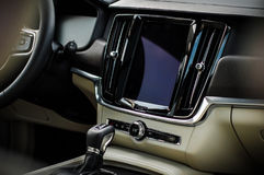 MOSKWA ROSJA, MAJ, - 3, 2017 VOLVO V90 PRZECINAJĄCY kraj, wewnętrzny widok Test nowy Volvo V90 Przecinający kraj Ten samochód jes Obraz Stock