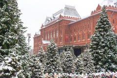 Moskwa, Rosja, Manezhnaya kwadrat mroczny dzień niebieski oddział stać się drzew zimy śnieżną nieba Obraz Royalty Free