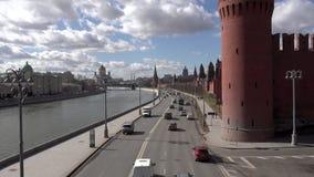 Moskwa, Rosja - 23 Marzec 2017: Moskwa Kremlin, droga i rzeka, zbiory