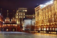 Moskwa ROSJA, MARZEC, - 31: noc krajobraz w wczesnej wiośnie w centrum miasta w Moskwa na Marzec 31, 2014 Zdjęcie Stock