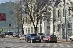Moskwa Rosja, Marzec, - 14, 2016 uliczny Nowy Basmannaya VTB 24 i bank Zdjęcia Stock