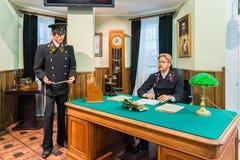 MOSKWA ROSJA, Marzec, - 11 2017 Wosk postacie kolejowi pracownicy w muzeum Moskwa kolej Fotografia Royalty Free