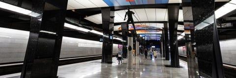 Moskwa, Rosja może 26, 2019, nowa nowożytna stacja metra CSKA Budujący w 2018 Solntsevskaya metra linii obraz stock