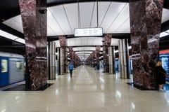 Moskwa, Rosja może 26, 2019, nowa nowożytna stacja metra Khoroshevskaya Budujący w 2018 Solntsevskaya metra linii zdjęcia royalty free
