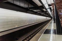Moskwa, Rosja może 26, 2019, nowa nowożytna stacja metra Khoroshevskaya Budujący w 2018 Solntsevskaya metra linii fotografia royalty free