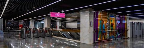 Moskwa, Rosja może 26, 2019, nowa nowożytna stacja metra Shelepiha Budujący w 2018 Solntsevskaya metra linii obrazy stock