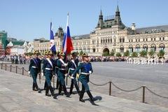 Moskwa, Rosja, może 26, 2007 Rosyjska scena: rozwodowi końscy strażnicy w Moskwa Kremlin na placu czerwonym Zdjęcia Royalty Free