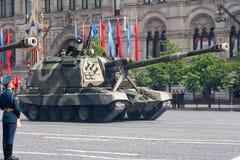 Moskwa, Rosja - mogą 09, 2008: świętowanie zwycięstwo dnia WWII parada na placu czerwonym Solenny przejście militarny wyposażenie Zdjęcie Stock