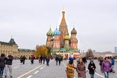 MOSKWA ROSJA, PAŹDZIERNIK, - 06, 2016: Katedra Vasily Błogosławiona St basilu ` s katedra na placu czerwonym Zdjęcie Stock
