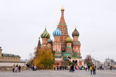 MOSKWA ROSJA, PAŹDZIERNIK, - 06, 2016: Katedra Vasily Błogosławiona St basilu ` s katedra na placu czerwonym Obraz Royalty Free