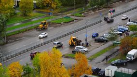 Moskwa Rosja, Październik, - 9 2017 Pejzażu miejskiego Zelenograd sypialny teren w jesieni zbiory