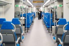 Moskwa Rosja, Październik, - 03 2015 Wewnętrznej wysokiej prędkości elektryczny pociąg w Moskwa, Rosja Zdjęcia Stock