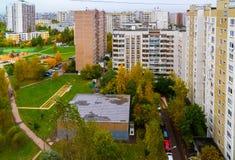 Moskwa Rosja, Październik, - 09 2017 Miasto krajobraz w jesieni w Zelenograd Zdjęcia Royalty Free