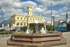 Moskwa, Rosja, Sierpień 4, 2016 Komsomolskaya kwadrat i Leningrad stacja zdjęcie stock