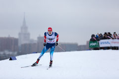 Moskwa ROSJA, Styczeń, - 18 2015: Biegowi uczestnicy FIS Kontynentalna Narciarska filiżanka Zdjęcie Stock