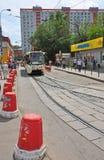 MOSKWA, ROSJA - 15 06 2015 Tramwaj przejażdżki na poręczach Każdy dzień iść na miasta 1.000 tramwajach Zdjęcie Stock